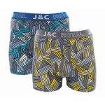 J&C Underwear heren boxershorts 'Highway' blauw/grijs 2-Pack