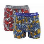 J&C Underwear heren boxershorts 'Highway' rood/geel 2-Pack