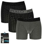 Apollo heren boxershorts 'Black printed' 3-pack