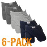 Fun2wear heren boxershort wijd 6-pack 'Uni' marine/grijs/antraciet