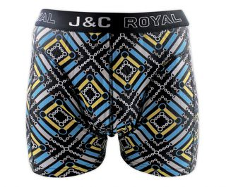 J&C Underwear heren boxershorts 'Chained square' geel/aqua' 2-pack
