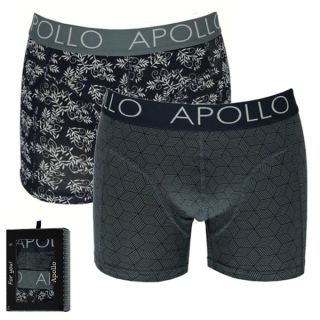 Apollo Deluxe heren boxershorts 'Kubus/Leaves' 2-pack