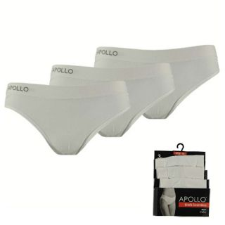 Apollo dames slips naadloos 3-pack wit