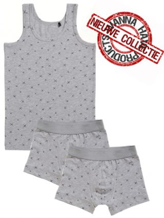 Ten Cate jongens set/2 boxers 'Graphic Cross' grijs melêe