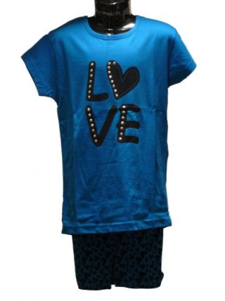 Apollo meisjes shortama 'Love' aqua