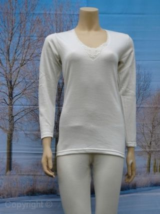 Entex dames shirt lange mouw 10% wol